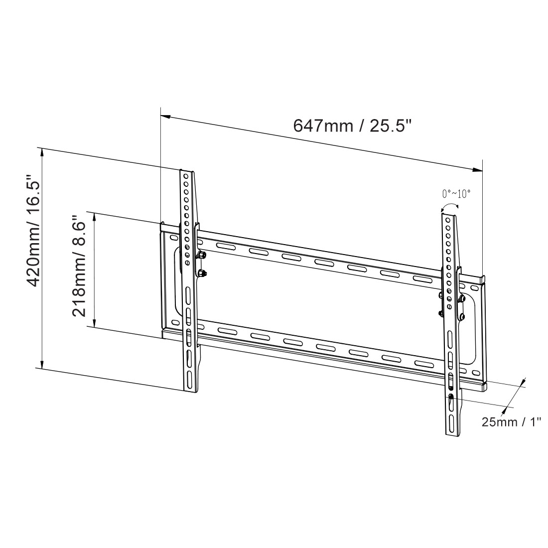 T013 Tilt TV Wall Mount for 32''-65''