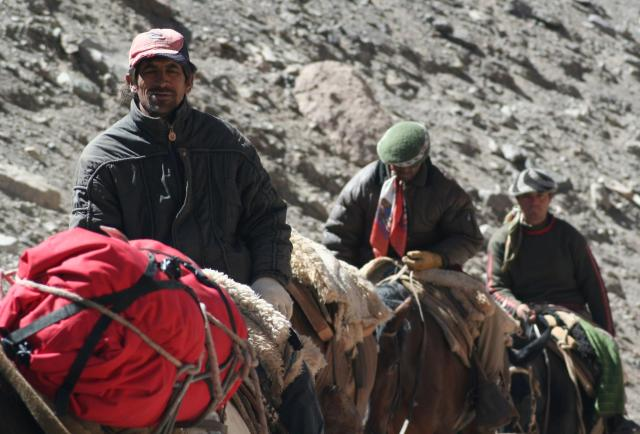 Porters Shuttling Loads up Aconcagua, Argentina