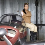 First armless pilot Jennifer Cox, sits next to her Ercoupe aircraft.