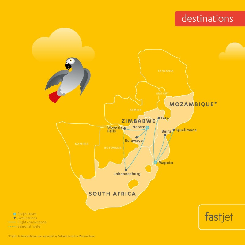 Fastjet Route Map - FlightFinder.co.za