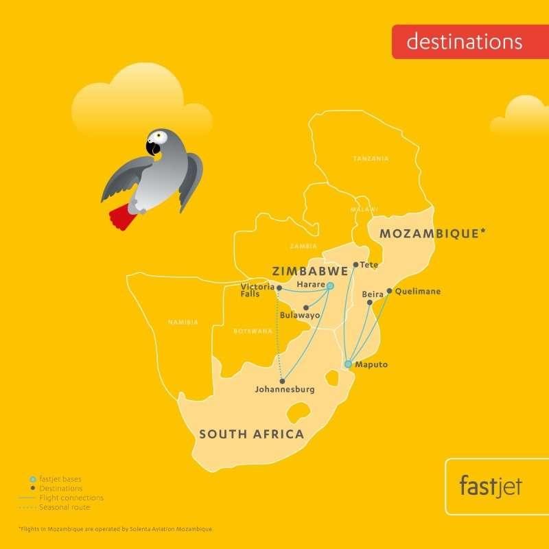 Fastjet Route Map - FlightFinder.co.za