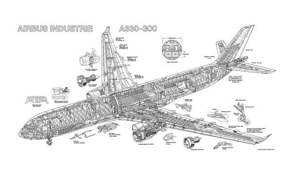 Prints of Airbus A330-300 Cutaway Drawing #1569909
