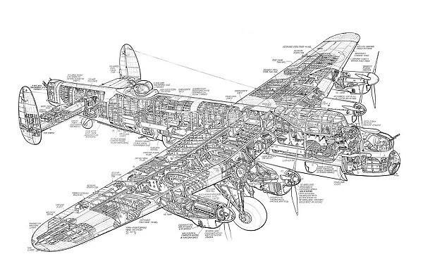 Avro 683 Lancaster Bomber Cutaway Drawing #1570945 Framed
