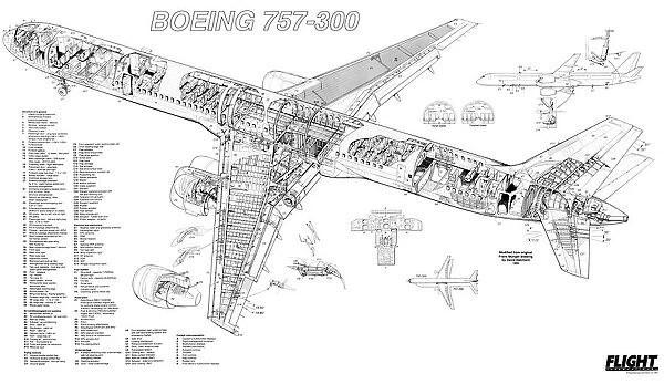 Boeing 757-300 Cutaway Poster #1570721 Framed Prints, Wall Art