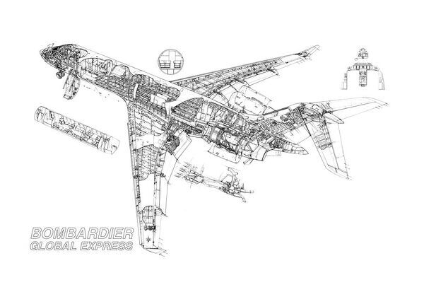 Prints of Bombardier Global Express Cutaway Drawing #1571311