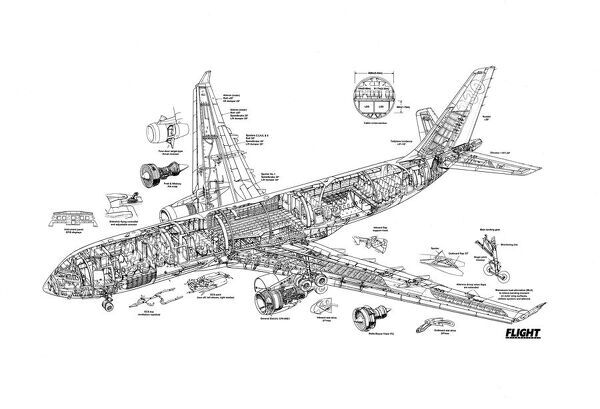 Airbus A330-200 Cutaway Poster (1570857) Framed Prints