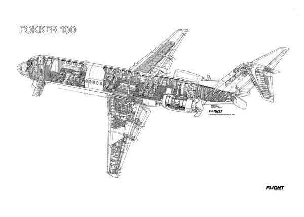 Prints of Fokker 100 Cutaway Drawing #1569809