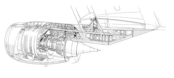 General Electric CFM56 MDD DC8 Engine Installation Cutaway