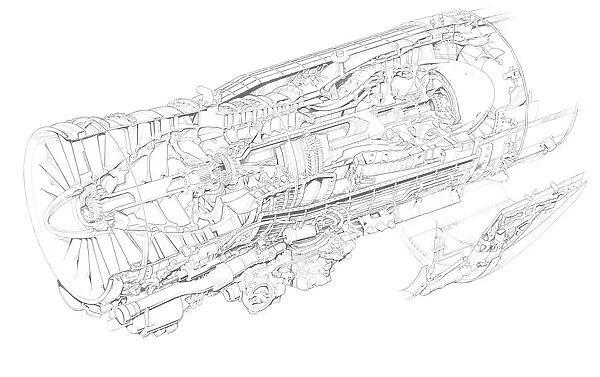 General Electric F404 Ge 400 Cutaway Drawing
