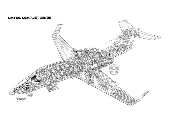 Learjet 28/29 Cutaway Drawing (#1569677) Framed Prints