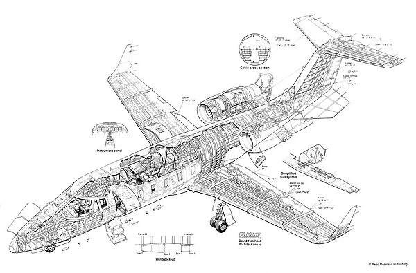 Learjet 60 Cutaway Drawing (#1571387) Framed Prints, Wall Art