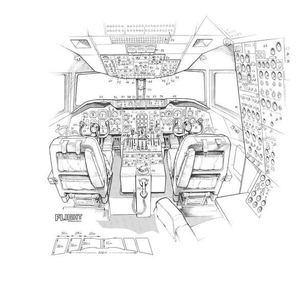 McDonnell Douglas DC-10 cockpit detail Cutaway Drawing