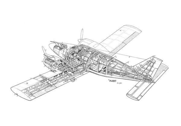 Piper PA-34 Seneca Cutaway Drawing (1569473) Framed Prints