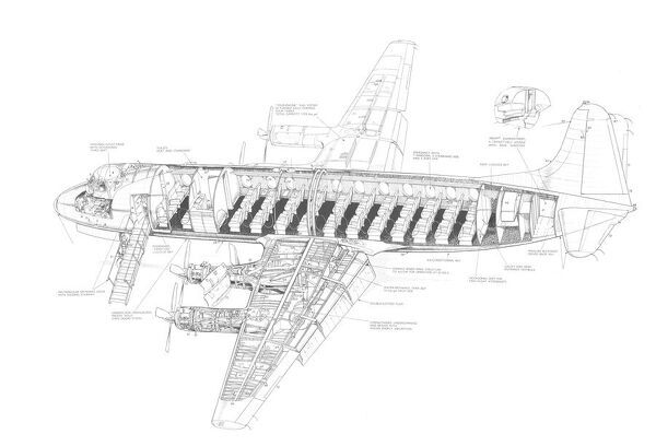 Prints of Vickers Viscount 810 Cutaway Drawing #4580422