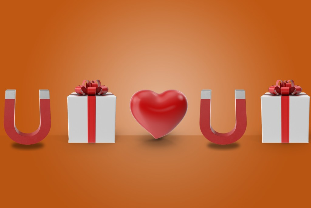 A graphic representation of customer loyalty, using a present, heart and magnet.