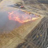 The view of the grassfire experiment captured by an unmanned aerial vehicle.