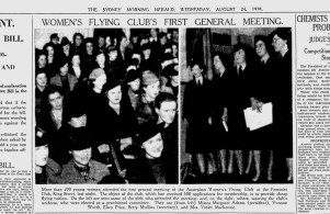 1938 Formation of the Women's Flying Club (National Pioneer Women's Hall of Fame, 2001) Photo: The Sydney Morning Herald newspaper – 24 August, 1938