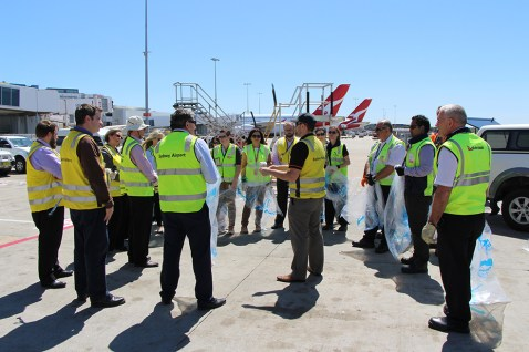 Sydney Airport staff participating in the FOD Walk. Image: © Australian Airport Association 2015