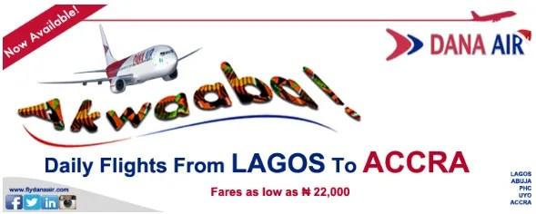Dana Air Daily Flights Lagos to Accra
