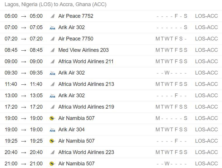 Flights from Lagos to Accra, Ghana