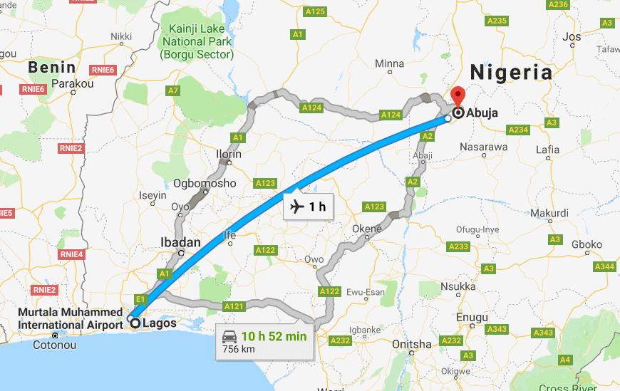 How many hours is the journey from Lagos to Abuja