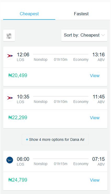 Dana air and Arik Air flights from Lagos to Abuja online booking flightscanner.com.ng