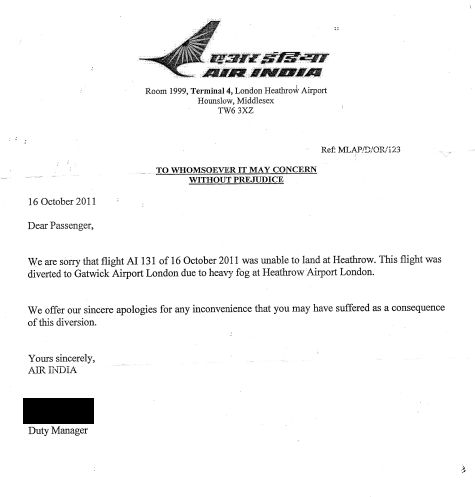 Air India apology letter