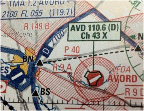 Symbole TACAN et son cartouche sur carte aéronautique