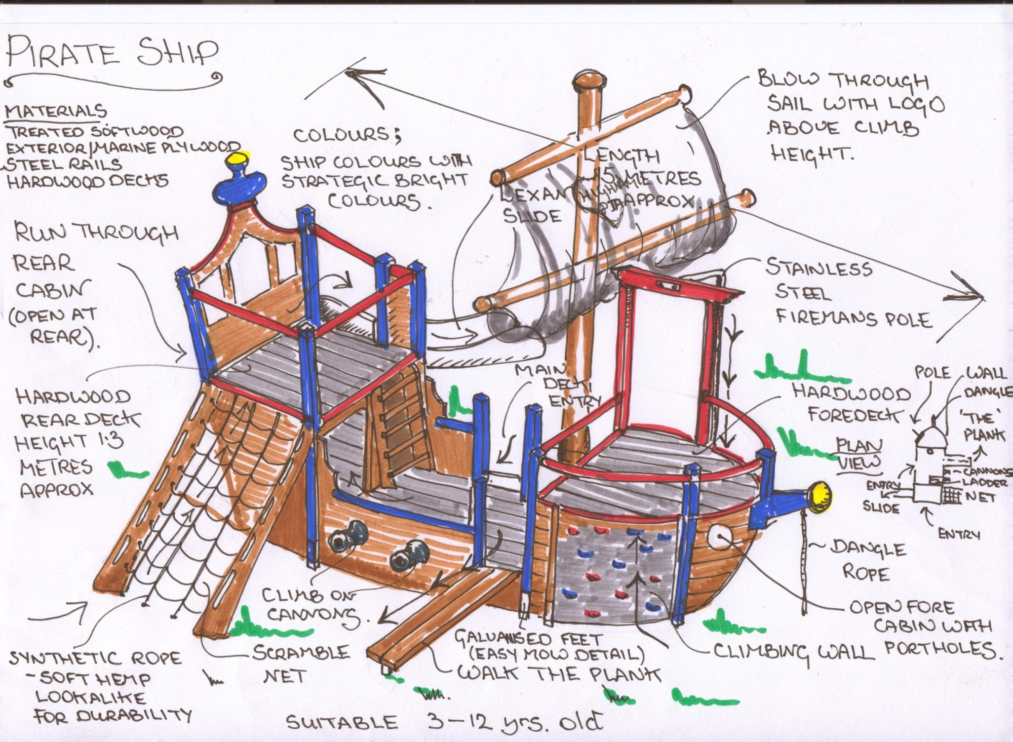 hight resolution of a pirate play ship play area for young children