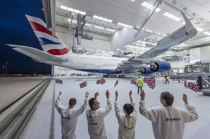 British Airways Airbus A380 Rollout of Paint Hangar