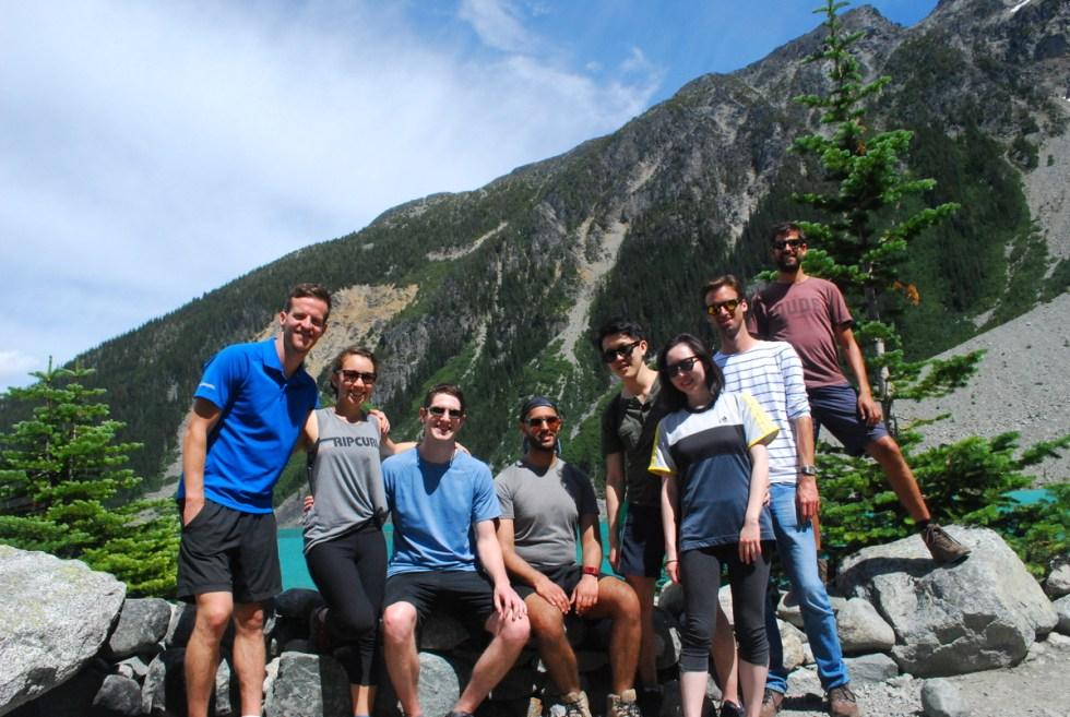 Joffre Lakes Hike crew:  James, Sarah, Jeff, Derek, Matt, Nataly, Maarten and me