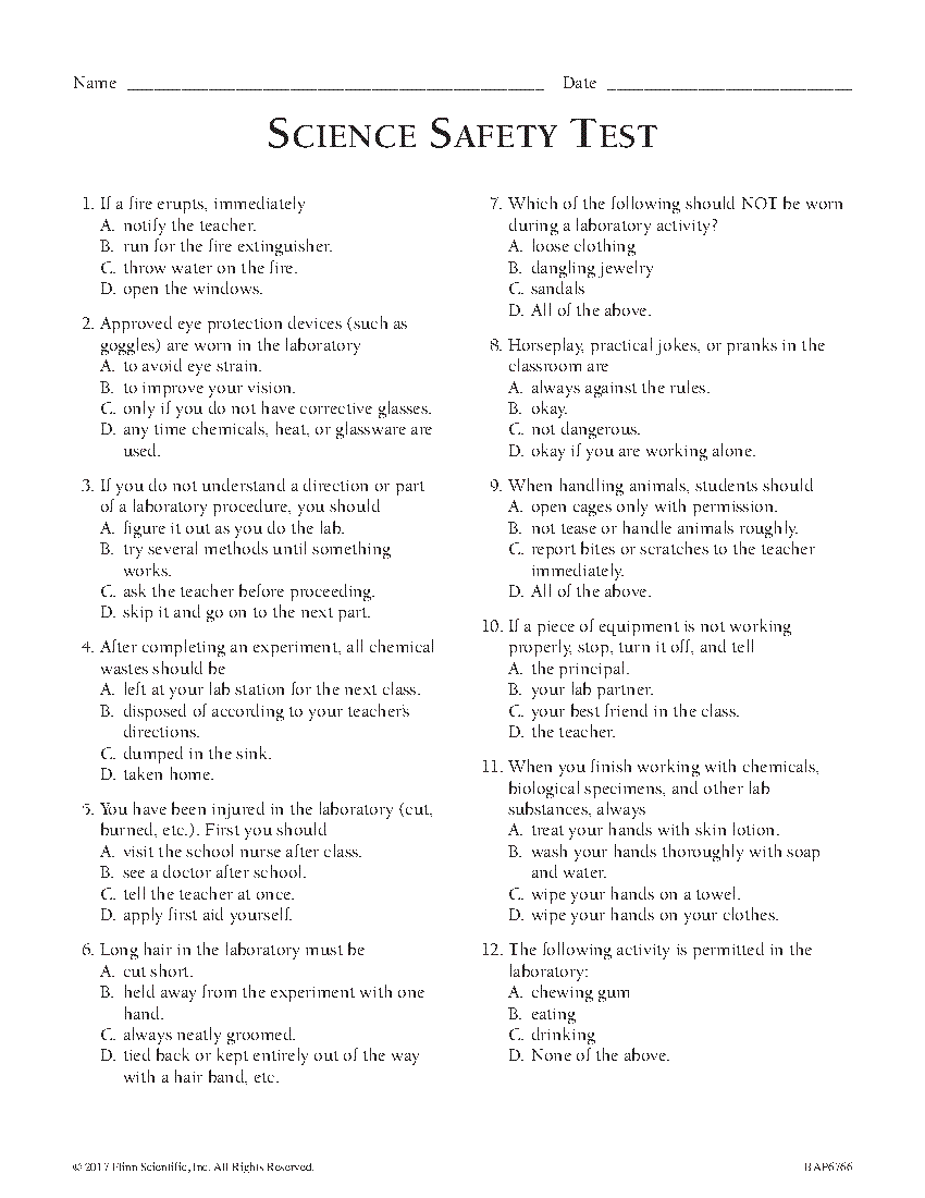 hight resolution of Middle School Safety Exam - English