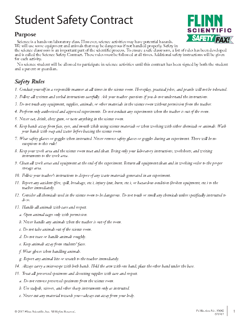 Middle School Science Safety Contract—English [ 1100 x 850 Pixel ]