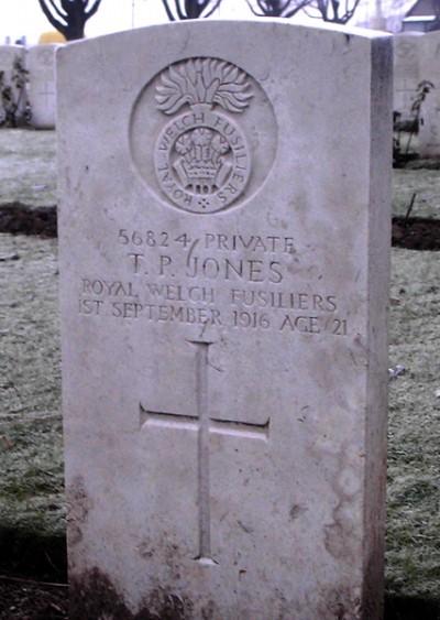 56824 Private Thomas Parry Jones Royal Wesh Fusiliers 1st September 1916