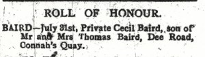 BAIRD, Cecil.County Herald 7th Sept 1917 2