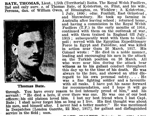 Extract from De Ruvigny's Roll of Honour 1914 -24 (Vol 3 page 18)