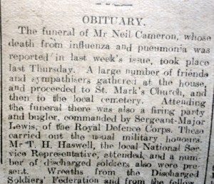 CAMERON, Neil (Discharged Soldier) Flintshire Observer 7th Nov 1918 (Page 4 Col 5&6) 2