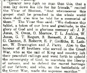 Wepre Lodge Fallen Oddfellows , Excerpt from Mold, Deeside & Buckley Leader 3rd Oct 1924