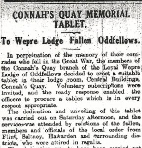 Wepre Lodge Fallen Oddfellows ,Title & top part of the newspaper cuttingMold, Deeside & Buckley Leader 3rd Oct 1924 2