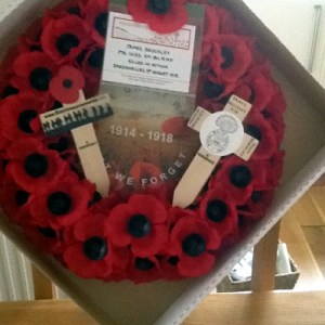 Wreath laid at Whitehall on 25th April 1915 by Laraine Blythyn & her daughter Hannah. Laraine's Great Uncle James Brockley died in the conflict.