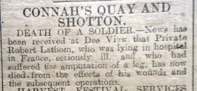 LATHAM, Robert, Death in France. Flintshire Observer 24th Oct 1918 (Page 4 Col 6) - 2
