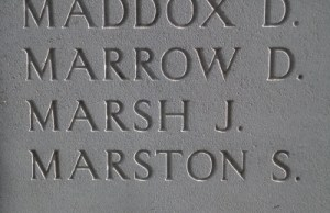 MARSTON, S & MARROW, D. on the Menin Gate, photo taken on the 16th April 2016 by Mavis Williams