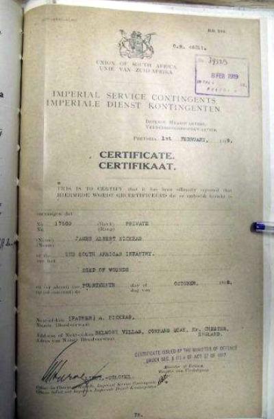 NICKEAS James Albert1918 Imperial Service Death Certificate - 2
