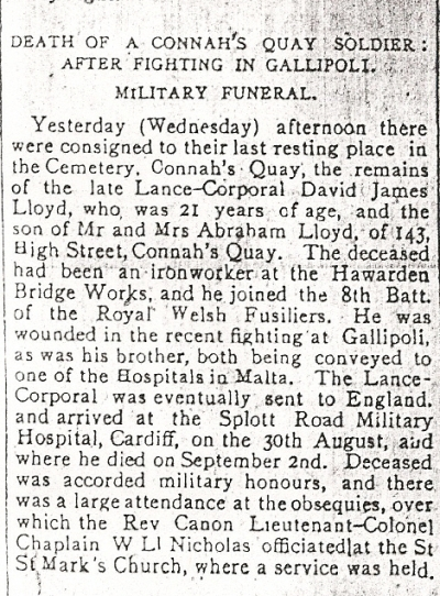 Obit. for David James, LLOYD County Herald 10th Sept.1915