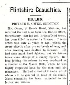Flintshire Observer 11th November 1915 Page 8 Col. 1