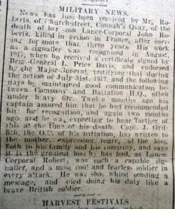 ROBERTS, John, Signaller Flintshire Observer 3rd October 1918 2