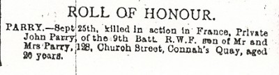 Roll of Honour PARRY, John, County Herald, 15th Oct. 1915 001