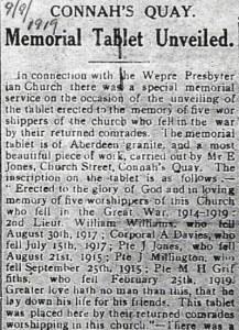 Wepre Presbyterian Church Memorial Tablet unveiled - County Herald 9th September 1919 3