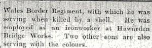 William MARLAND Flintshire Observer 23rd September 1915 Part 2 - 2
