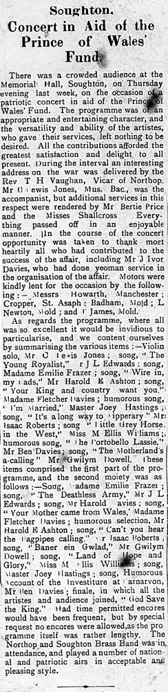 The County Herald 18th November 1914 'The programme was rather lengthy' They must have been there till midnight!